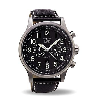 Davis _ 0450-48 mm Chronograph Watch 50 M Pool-Aviator-Black stitched leather strap