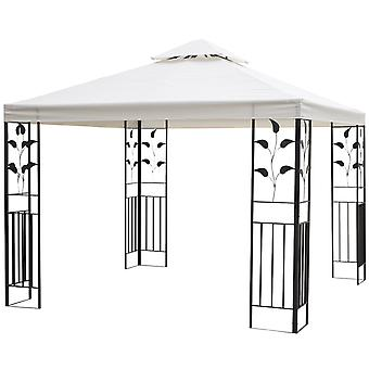 Outsunny 3 x 3 meter Outdoor Garden Metal Gazebo Patio Canopy Marquee Patio Party Tent Canopy Shelter Vented Roof Decorative Frame - Cream