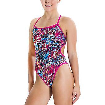 Speedo Womens Flipturns Reverse Reversable One Piece Swimming Costume - Multi