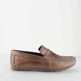 Base London Palmer Mennvoksaktig Skinn Loafers Brown