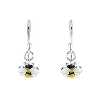 Dew Sterling Silver Dinky Bee Enamel Drop Earrings 5559ME