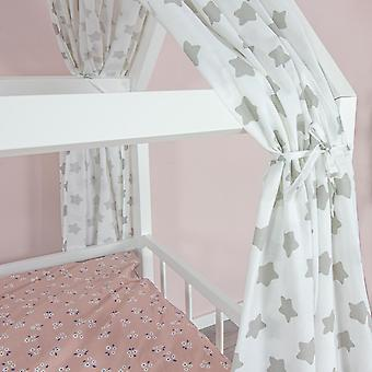 House bed curtain Freya, stars white, 146 x 298 cm