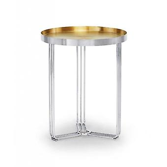 Gillmore Deco - Small Circular Side Table With Brushed Brass Recessed Tray And Frame Colour Options