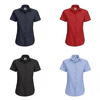 B & C damer Smart Kortärmad Poplin skjorta / tröjor