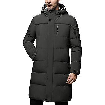 Cloudstyle Men's Down Coat Mid Long Solid Hooded Overcoat