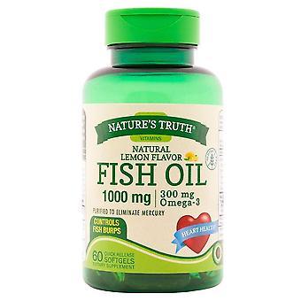 Óleo de peixe da nature's truth fish, 1000 mg, softgels de liberação rápida, limão natural, 60 ea