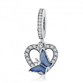 Sterling Silber Charm-anhänger Blauer Schmetterling Mit Herz - 5700