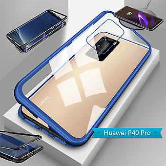 For Huawei P40 Pro Magnet / Metal / Glass Case Bumper Transparent / Blue Case Sleeve New