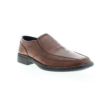 Robert Wayne Track Toe  Mens Brown Leather Casual Slip On Loafers Shoes