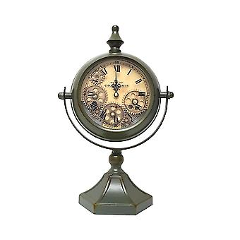 Atlas moving cogs table clock - metallic green wash