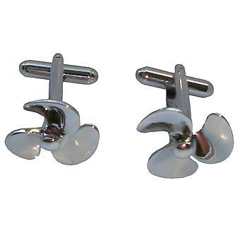 Bassin och brun Propeller manschettknappar - Silver