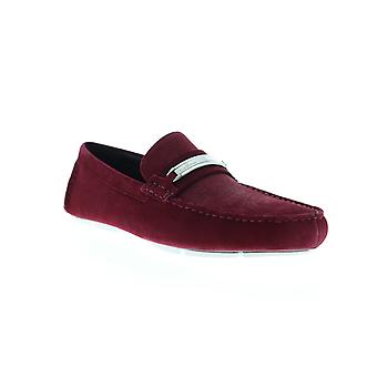 Calvin Klein Kolton  Mens Red Suede Casual Slip On Loafers Shoes