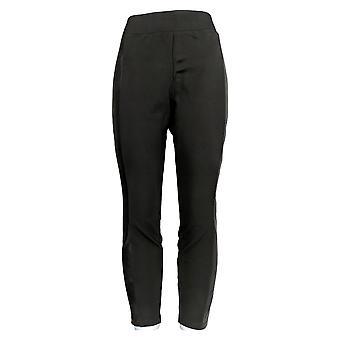 H door Halston Petite Leggings Ponte Leggings w/ Faux Leather Black A311511