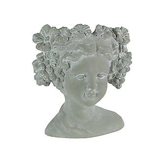 Natural Gray Concrete Flower Child Head Planter 8.75 Inches High