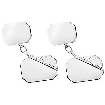 Orton West Silver Plated Engraved Corner Chain Link Cufflinks - Silver