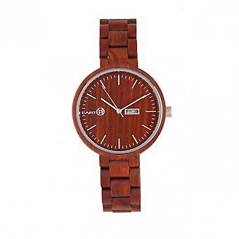 Earth Wood Mimosa Bracelet Watch w/Day/Date - Red