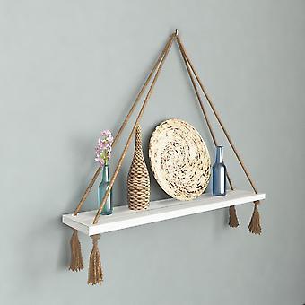 Halatli Regal weiße Farbe, Ecru Holz, Juta, L50xP15xA25 cm