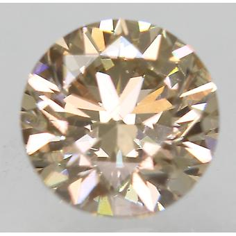 Cert 0.70 Carat Yellow Brown VVS2 Round Brilliant Enhanced Natural Diamond 5.44m
