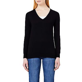 MERAKI Women's Cotton V Neck Sweater, (Preto), XL (EUA 12-14)