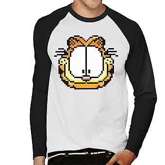 Garfield Pixelated Happy Face Men 's Baseball Long Sleeved T-Shirt