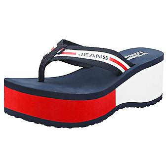 Tommy Jeans Chunky Tape Beach Womens Wedge Sandals in Navy White Red