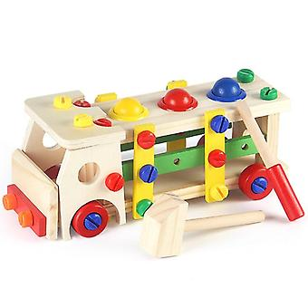 Wooden Blocks Game Assembling Disassembly Engineering Car Baby Toy Puzzle