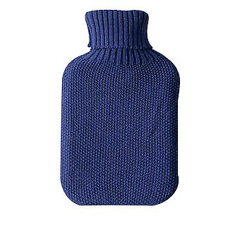 Nicola Spring Hot Water Bottle Knitted Cover - Cosy Turtleneck Sleeve - Fits Standard 2L Bottles - COVER ONLY - Midnight Blue