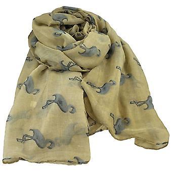 Slips Planet Flamingo Animal - Bird Print Gold Beige Letvægts Kvinder's sjal tørklæde