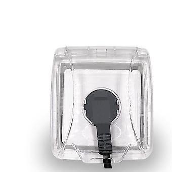 Läpinäkyvä laatikkokytkimen pistorasia, suojaava pölysuojus pistorasiaan, neliö