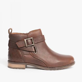 Barbour Jane Ladies Leather Ankle Boots Teak
