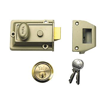Yale YAL77ENBPB 77 Trad Nightlatch Nickle Brass B Cilindro 60mm Backset Box