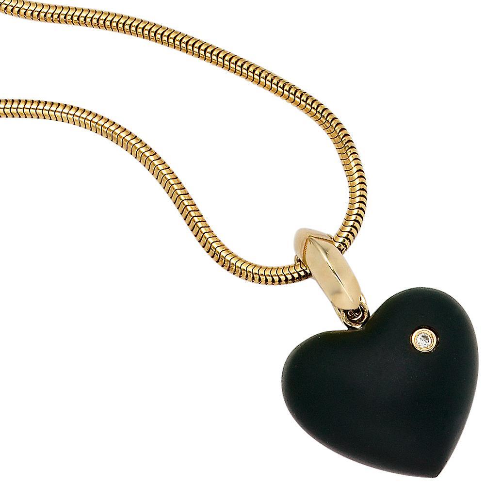 Damen Einhänger Anhänger Herz 585 Gold Gelbgold 1 Onyx schwarz 1 Diamant Brillant