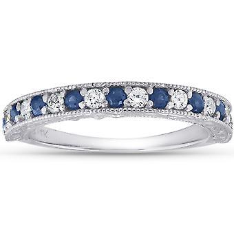 1/2Ct sininen safiiri & timantti vihkisormus vuosipäivä pinottava bändi valkoinen kulta