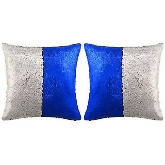 vidaXL枕セット スパンコール2個付き 60 x 60 cm 青と銀