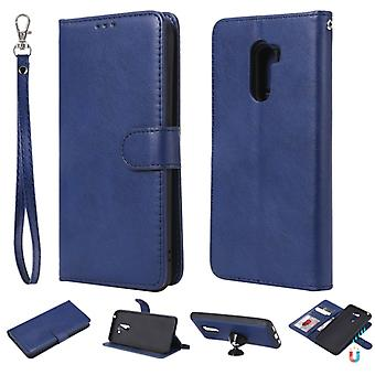 For Xiaomi Pocophone F1 Solid Color Horizontal Flip Protective Case with Holder & Card Slots & Wallet & Photo Frame & Lanyard(Blue)