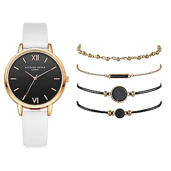 5kpl set Women's Luxury Nahka bändi Analoginen Kvartsi Rannekello Naisten Watch
