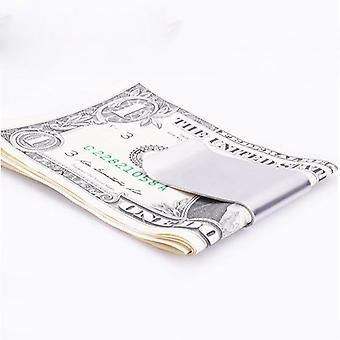rustfritt stål sølv penger klipp dobbeltsidig slank lomme kontanter Id kredittkort