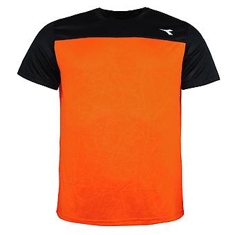 Diadora Short Sleeve Round Neck Vermillion Orange Mens T-Shirt 40052