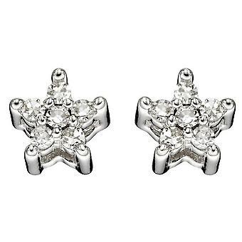 Elements Gold Diamond Star Stud Örhängen - Vit Guld
