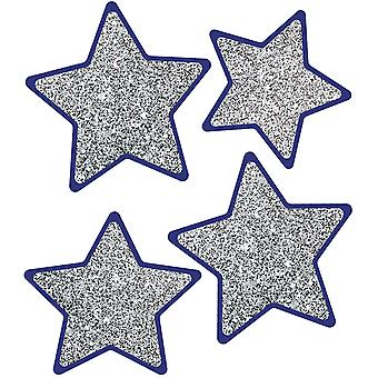 Sparkle + Shine Solid Silver Glitter Stars Cut-Outs, Pack de 36