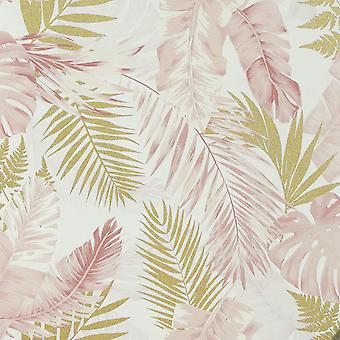 Bløde tropiske palmer Tapet Blush / Guld Arthouse 297107