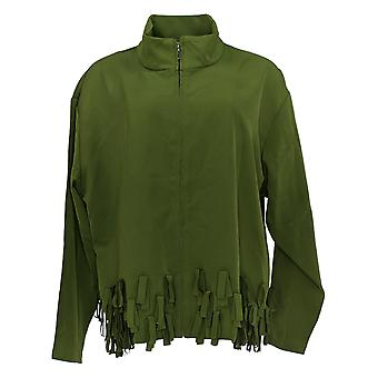 Truth + Style Women's Zip-Front Jacket With Novelty Fringe Green A389337