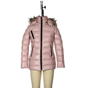 Womens selina puffer leather jacket with fur hoodie (pink)