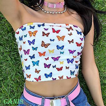 Butterfly Print Envuelto Pecho Acolchado Transgénero Camiseta Strapless Short