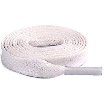 White Flat Cotton Waxed Shoelaces Laces