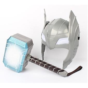 Child Cosplay Thor Led Light Luminous Sounding Helmet Weapon Hammer Quake Toy