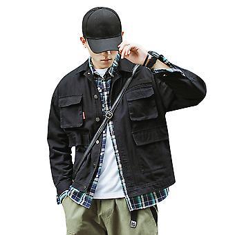 YANGFAN Men's Lapel Solid Color Jacket Popular Outwear
