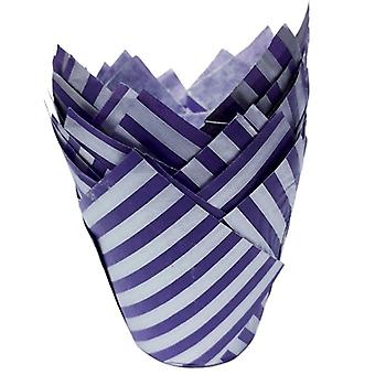Purple and Silver Tulip Cupcake Case - Pack of 50