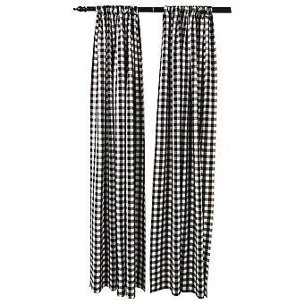 La Leinen Pack 2 Polyester Gingham karierten Hintergrund, 58 von 96-Zoll, schwarz/weiß