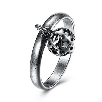 Dangling Sphere Black Plating Stainless Steel Ring